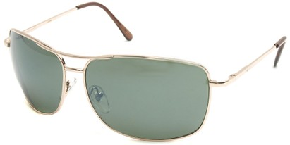 Angle of SW Square Aviator Style #808 in Gold Frame with Smoke Green Lenses, Women's and Men's