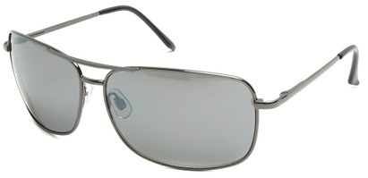 Angle of SW Square Aviator Style #808 in Gray Frame with Smoke Lenses, Women's and Men's