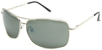 Angle of SW Square Aviator Style #808 in Silver Frame with Smoke Green Lenses, Women's and Men's