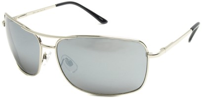 Angle of SW Square Aviator Style #808 in Silver Frame with Mirrored Lenses, Women's and Men's