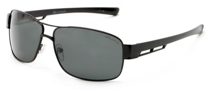 Angle of Ottawa #8137 in Matte Black Frame with Smoke Lenses, Men's Aviator Sunglasses