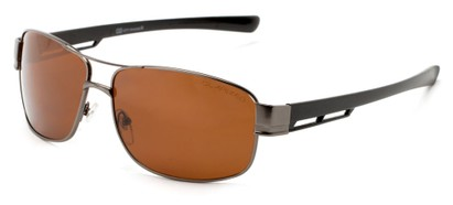 Angle of Ottawa #8137 in Matte Grey Frame with Amber Lenses, Men's Aviator Sunglasses