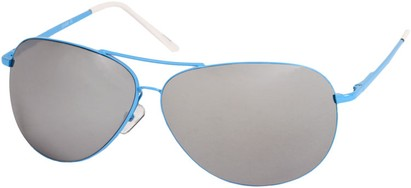 Angle of SW Mirrored Square Aviator Style #1999 in Blue Frame, Women's and Men's