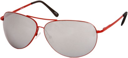 Angle of SW Mirrored Square Aviator Style #1999 in Red Frame, Women's and Men's