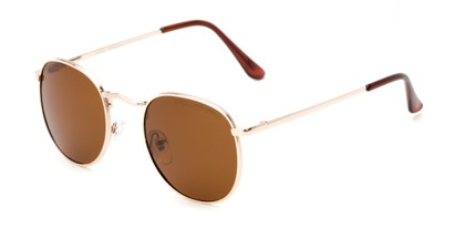 Angle of Elton #8289 in Gold Frame with Amber Lenses, Women's and Men's Round Sunglasses