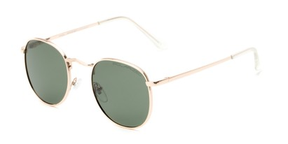 Angle of Elton #8289 in Gold Frame with Green Lenses, Women's and Men's Round Sunglasses