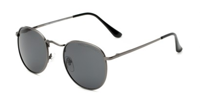 Angle of Elton #8289 in Grey Frame with Grey Lenses, Women's and Men's Round Sunglasses