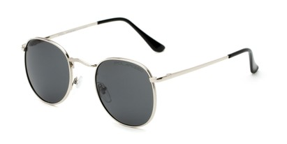 Angle of Elton #8289 in Silver Frame with Grey Lenses, Women's and Men's Round Sunglasses