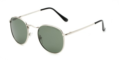 Angle of Elton #8289 in Silver Frame with Green Lenses, Women's and Men's Round Sunglasses