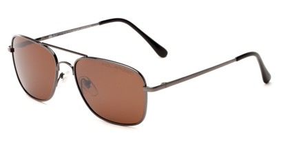 Angle of Coleman in Grey Frame with Amber Lenses, Women's and Men's Aviator Sunglasses
