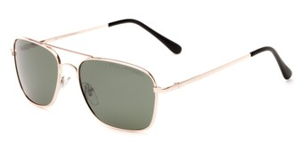 Angle of Cole #8300 in Gold Frame with Green Lenses, Women's and Men's Aviator Sunglasses