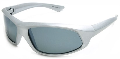 Angle of SW Polarized Style #1916 in Silver Frame with Smoke Lenses, Women's and Men's