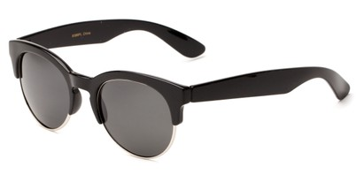 Angle of Bondi #8388 in Black/Silver Frame with Smoke Lenses, Women's and Men's Browline Sunglasses