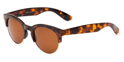 Angle of Bondi #8388 in Tortoise/Gold Frame with Amber Lenses, Women's and Men's Browline Sunglasses