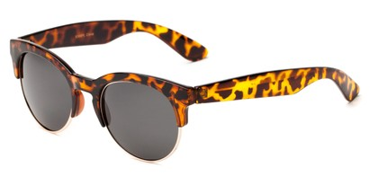 Angle of Bondi #8388 in Tortoise/Gold Frame with Smoke Lenses, Women's and Men's Browline Sunglasses