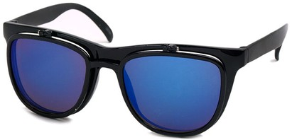 Angle of SW Flip-Up Retro Style #825 in Black Frame with Blue Mirrored Lenses, Women's and Men's