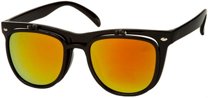 Angle of SW Flip-Up Retro Style #825 in Black Frame with Yellow Mirrored Lenses, Women's and Men's