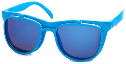 Angle of SW Flip-Up Retro Style #825 in Neon Blue Frame with Blue Mirrored Lenses, Women's and Men's