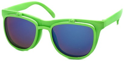 Angle of SW Flip-Up Retro Style #825 in Neon Green Frame with Blue Mirrored Lenses, Women's and Men's