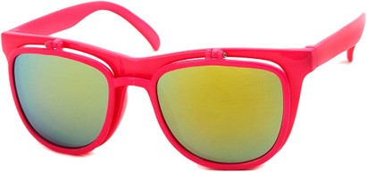 Angle of SW Flip-Up Retro Style #825 in Neon Pink Frame with Yellow Mirrored Lenses, Women's and Men's