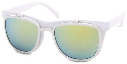 Angle of SW Flip-Up Retro Style #825 in White Frame with Yellow Mirrored Lenses, Women's and Men's
