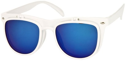 Angle of SW Flip-Up Retro Style #825 in White Frame with Blue Mirrored Lenses, Women's and Men's