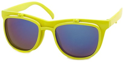 Angle of SW Flip-Up Retro Style #825 in Neon Yellow Frame with Blue Mirrored Lenses, Women's and Men's