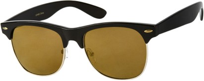 Angle of Cape Town #1386 in Black Frame with Gold Mirrored Lenses, Women's and Men's Browline Sunglasses