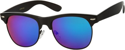 Angle of Cape Town #1386 in Black Frame with Blue/Purple Mirrored Lenses, Women's and Men's Browline Sunglasses