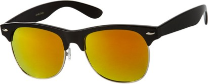 Angle of Cape Town #1386 in Black Frame with Orange Mirrored Lenses, Women's and Men's Browline Sunglasses