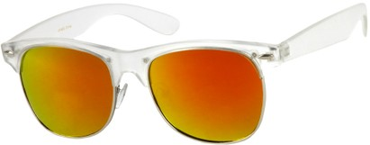 Angle of Cape Town #1386 in Clear Frame with Orange Mirrored Lenses, Women's and Men's Browline Sunglasses