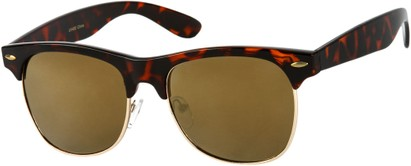 Angle of Cape Town #1386 in Tortoise Frame with Gold Mirrored Lenses, Women's and Men's Browline Sunglasses
