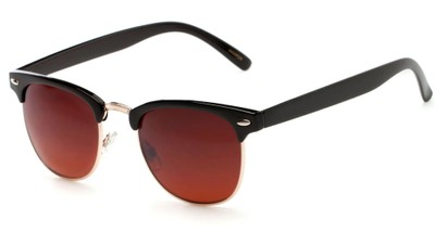 Angle of Kyoto #8408 in Black/Gold Frame with Copper Lenses, Women's and Men's Browline Sunglasses