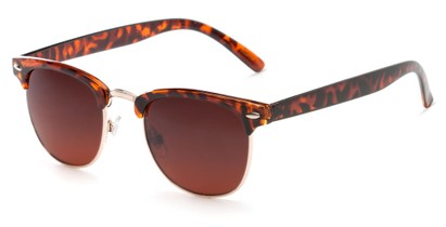 Angle of Kyoto #8408 in Tortoise/Gold Frame with Copper Lenses, Women's and Men's Browline Sunglasses