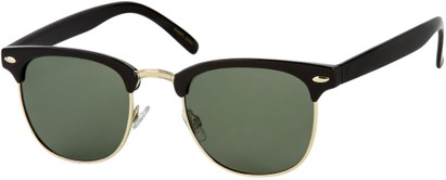 Angle of Harlem in Black/Gold Frame with Green Lenses, Women's and Men's Browline Sunglasses