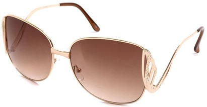 Angle of SW Fashion Style #1145 in Glossy Gold with Amber Lenses, Women's and Men's