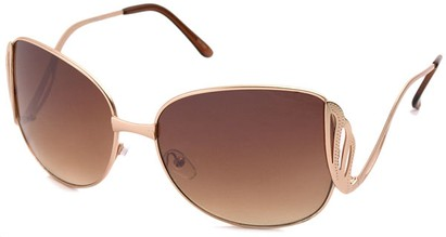 Angle of SW Fashion Style #1145 in Matte Gold with Amber Lenses, Women's and Men's