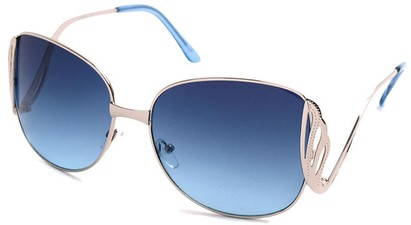 Angle of SW Fashion Style #1145 in Glossy Silver with Blue Lenses, Women's and Men's