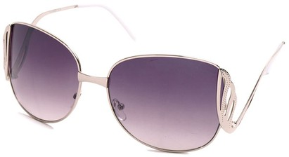 Angle of SW Fashion Style #1145 in Glossy Silver with Smoke Lenses, Women's and Men's