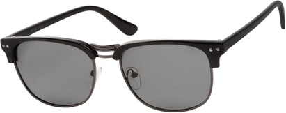 Angle of Vancouver #519 in Black/Grey Frame with Grey Lenses, Women's and Men's Browline Sunglasses
