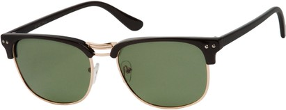 Angle of Vancouver #519 in Black/Gold Frame with Green Lenses, Women's and Men's Browline Sunglasses