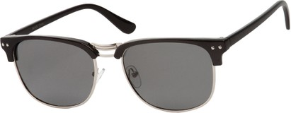 Angle of Vancouver #519 in Black/Silver Frame with Grey Lenses, Women's and Men's Browline Sunglasses