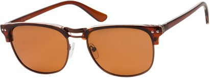 Angle of Vancouver #519 in Brown/Bronze Frame with Amber Lenses, Women's and Men's Browline Sunglasses