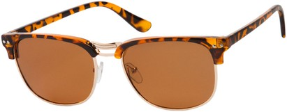Angle of Vancouver #519 in Tortoise/Gold Frame with Amber Lenses, Women's and Men's Browline Sunglasses