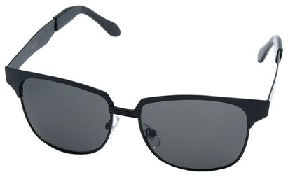 Angle of Flint #1352 in Black Frame, Women's and Men's Browline Sunglasses