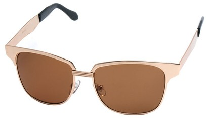 Angle of Flint #1352 in Gold Frame, Women's and Men's Browline Sunglasses