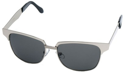 Angle of Flint #1352 in Silver Frame, Women's and Men's Browline Sunglasses