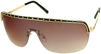 Angle of SW Shield Style #226 in Black and Gold Frame with Amber Lenses, Women's and Men's