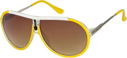 Angle of SW Oversized Aviator Style #6133 in Yellow/Silver Frame, Women's and Men's