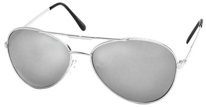 Angle of SW Aviator Style #1693 in Silver Frame with Mirrored Lenses, Women's and Men's